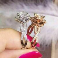 Gorgeous Flower Two Tone 925 14k Rose Gold Wedding Jewelry Silver Floral Ring