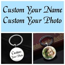 Custom Photo DIY Personalised Picture Keychain Silver Key Ring Pendants Gifts