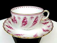 """RS TILLOWITZ SILESIA RED FLORAL FLUTED SWIRL 2"""" CUP & SAUCER SET 1916-1945"""