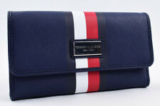 TOMMY HILFIGER Women's Faux Saffiano Leather Trifold Wallet, Navy Blue
