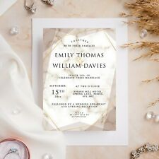 10 Wedding Invitations Day/Evening Gold Marble