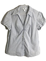 womens Ann Taylor Loft short sleeve button Up shirt top white Striped Size 14