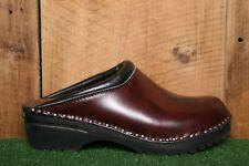 TROENTORP Dark Red Leather Slip On Clog Mules w/Wood Midsole EUR 41 | US 10.5-11
