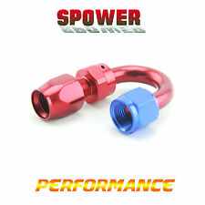 Universal AN8 Blue Red 180 Degree Rotary Hose End Fitting Adaptor Fuel Oil Line