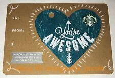 """STARBUCKS CANADA GIFT CARD """"YOU'RE AWESOME"""" VALENTINES DAY HEART 2017 NO VALUE"""