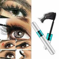 2 in1 4D Silk Fiber Waterproof Eyelash Mascara Extension Makeup Black Eye Lashes