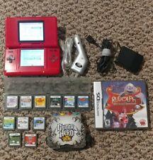 Nintendo DS Original NTR-001 Red Console, Charger, 12 Games. MarioKart, Guitar