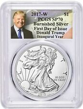 2017-W $1 Burnished Silver Eagle SP70 PCGS First Day of Issue TRUMP In Stock NOW
