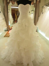 New White Ivory Organza Wedding Dress Bridal Gown Stock Size: 6 8 10 12 14 16 18