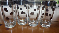 Platinum and Clear Glass Tumblers Glasses Silver Dots on clear glass 4 12oz