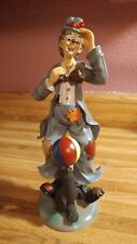 """Vintage 10.5"""" Clown Figurine Glossy Smiling w/ Ball On Seal Free Shipping"""