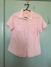 R M Williams pink and white checked short sleeve shirt in size 12