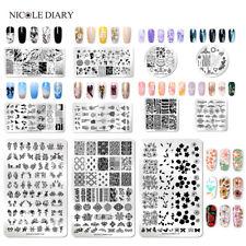 NICOLE DIARY Nagel Stempel Schablone Flower Nail Art Stamping Schablonen Plate