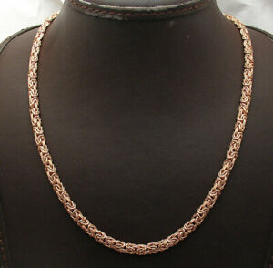 """18"""" Technibond Domed Byzantine Chain Necklace 14K Rose Pink Gold Clad Silver"""