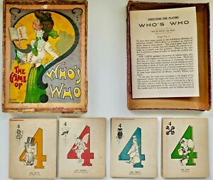 """SELDOM SEEN Antique c1900 """"THE GAME OF WHO'S WHO""""  McLOUGHLIN BROTHERS Complete"""