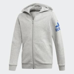 adidas boys badge of sport hoodie in grey. Hoodie. Various sizes!