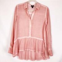 A.N.A. Women's M Medium Blouse Top Pink Long Sleeve Peplum Ruffle Button Front