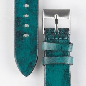 Pebro VENEER handmade Vintage Leather Watch Strap in TURQUOISE green 22 mm
