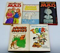 Lot of 5x 1960s Comic Paperback Books, Mad Magazine, Armed Forces, Tiger, More