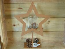 schwerer Metall - Teelichthalter, Windlicht Stern, Rostfarben