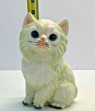 Vintage Blue Eyed Long Hair White Kitten Porcelain Mid Century Modern Japan.