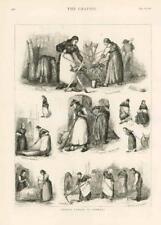 1876-antica stampa Germania Spazzatrice per segare LAVORO DONNA MATTONE di pulizia (032)