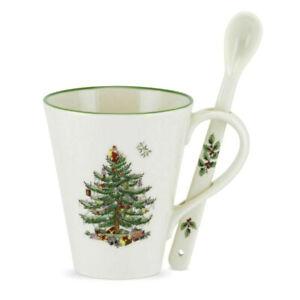 Spode Christmas Tree Mug & Spoon Set 14 oz- New