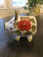 "Vintage pig made in Italy Ceramic Pottery 5"" Piggy Coin Bank floral handpainted"