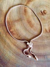 925 Sterling Silver Rose Gold Adjustable Heart Slider Bracelet