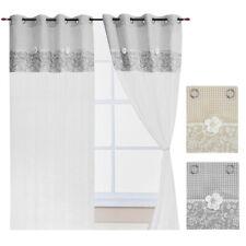 Tende shabby chic finestra porta interno coppia 2pz più misure tessuto lino casa