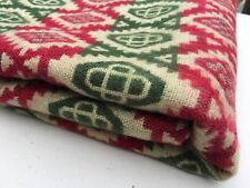 NEW BLANKET COUCH THROW YAK WOOL BLEND RED CREAM GREEN HANDMADE MULTI-COLOR