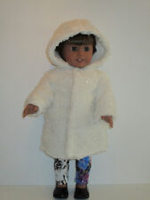 """Fluffy Cream/Gold Sparkles Fur Coat for 18"""" Doll Clothes American Girl"""