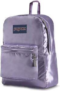 NWT JanSport Girls High Stakes Fashion School Backpack Bag Purple Satin Summer