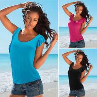 Sexy Tops Tunika Oberteil Gr.34-42 Sommer Damen Ärmellos Hemd Blusen T-shirt