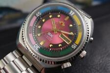 Sporty Jumbo Orient SS Diver's 46 mm Mens Day Date Fuschia Dial Automatic