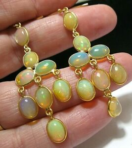 Sterling SILVER Real Fire Opal 15.85 cts Statement EARRINGS English Hallmarked