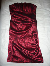 BETSY & ADAM motif floral rouge sans bretelles, Bandeau robes de bal, robe de cocktail