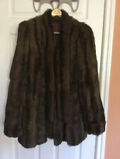 "Fur Coat - Rabbit  woman size M , sleeves 29"" ,34""long from top of neck to hem"