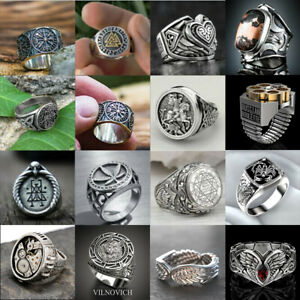 Fashion Northern Europe Men Party Ring Jewelry Viking Punk Silver Rings Gift