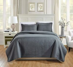 Chezmoi Collection 3-Piece Solid Modern Quilted Bedspread Coverlet Set (King, Ch