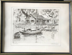 Lionel Barrymore Etching * Vintage Talio-crome Print POINT PLEASANT Framed!