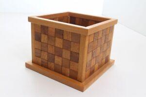 Flower Pot Planter Wood Real Handmade Individual Piece Mosaic (5)