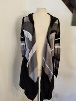 Romeo + Juliet Couture Hooded Open Cardigan Sweater Sz S Black Colorblock Womens