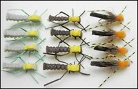 Grasshopper Fishing Flies, 12  Brown, Green & Banded, Size 8/10/12, Fly Fishing