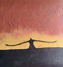 20 x 20 Ken Joslin African American Man Folk Art Original Abstract Painting