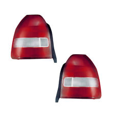 Tail Lights Lamps Pair Set for 99-00 Honda Civic Hatchback (Red/Clear)