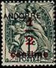 "ANDORRE FRANCAIS STAMP TIMBRE N° 1 "" BLANC 1/2 S. 1 C. GRIS NOIR "" NEUF x TB"