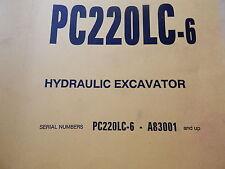 komatsu operation maintenance manual parts book PC220LC-6 - A83001 & up serial#