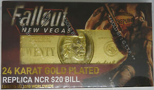 FALLOUT : NEW VEGAS - LIMITED EDITION 24K GOLD PLATED REPLICA NCR $20 BILL