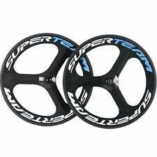 SUPERTEAM 70mm 3 Spoke Wheel Carbon Road Bike Clincher Wheelset Tri Spoke Glossy